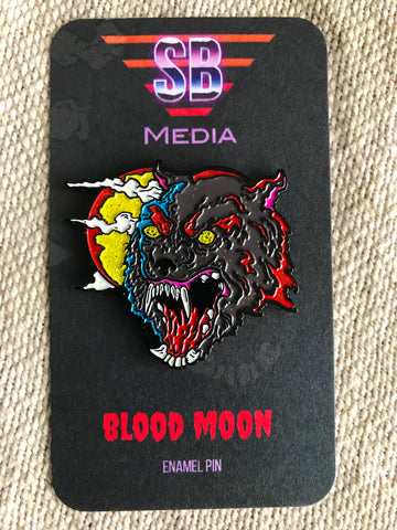 scary basement media, enamel pin, blood moon, vile consumption