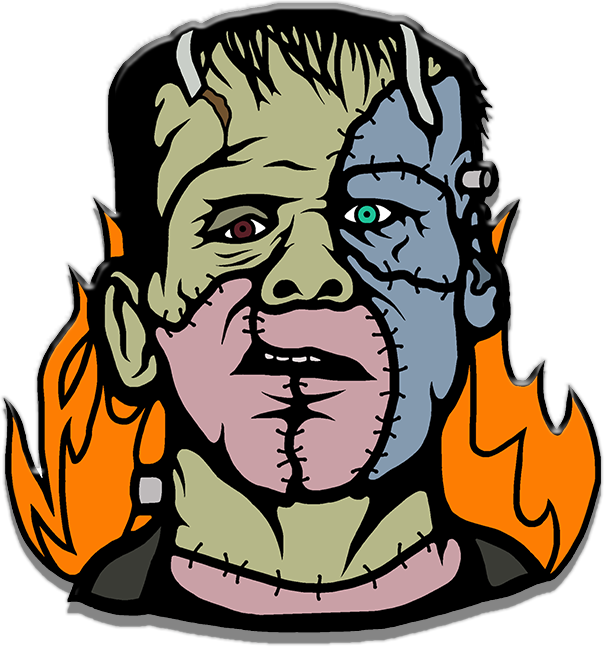 frankenstein, enamel pin, horror pin, horror movies, scary movies, glitter pin