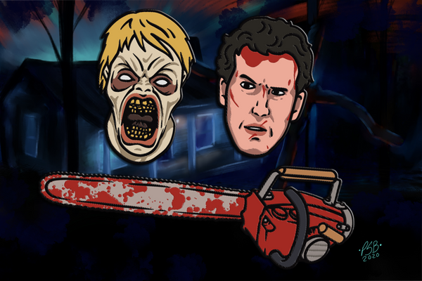 evil dead 2, bruce campbell, face mask, scary basement media, army of darkness