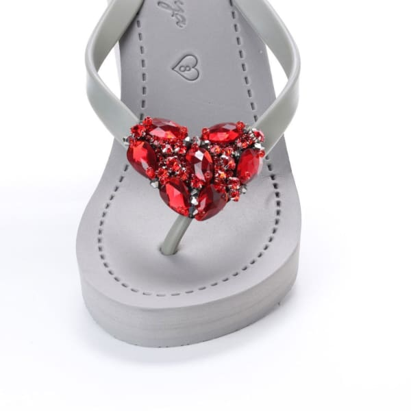 Chelsea Heart (Red) - Womens High Wedge - Women - Shoes - Sandals
