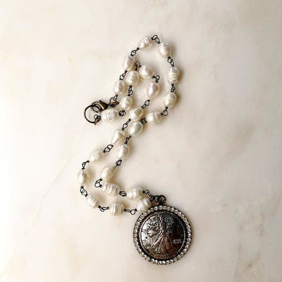 Liberty Coin Jeweled Medallion Necklace - Necklace