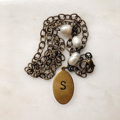 Oval Medallion and Freshwater Pearl Necklace - Necklace