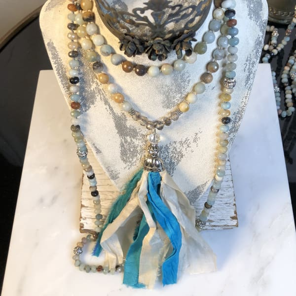 Silk Tassel Beaded Necklace Aqua Cream - Mala Necklace