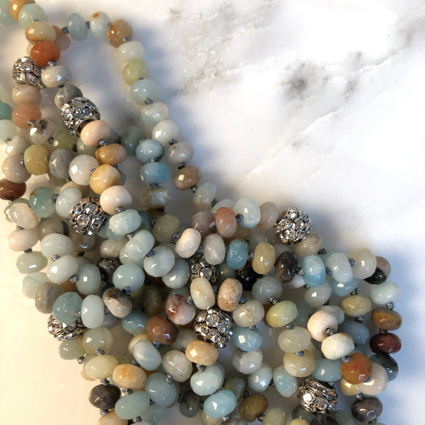 Mala Bead Malachite Necklace Aqua Cream