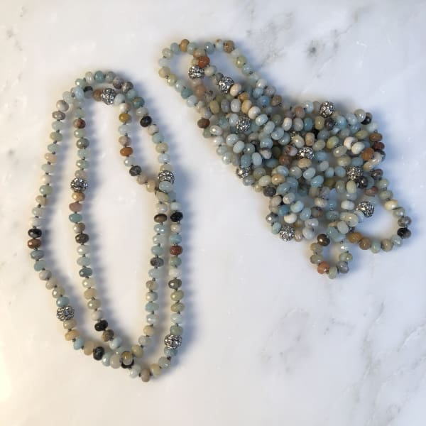 Mala Bead Malachite Necklace Aqua Cream - Beaded Necklace
