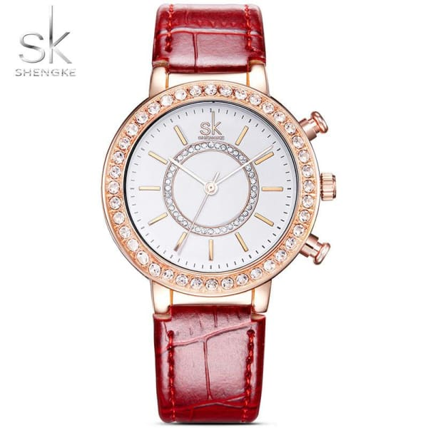 Ladies Leather Watch | Croc Pattern Strap w/ Crystal Bezel - Leather