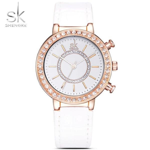 Ladies Leather Watch | Croc Pattern Strap w/ Crystal Bezel - White - Leather