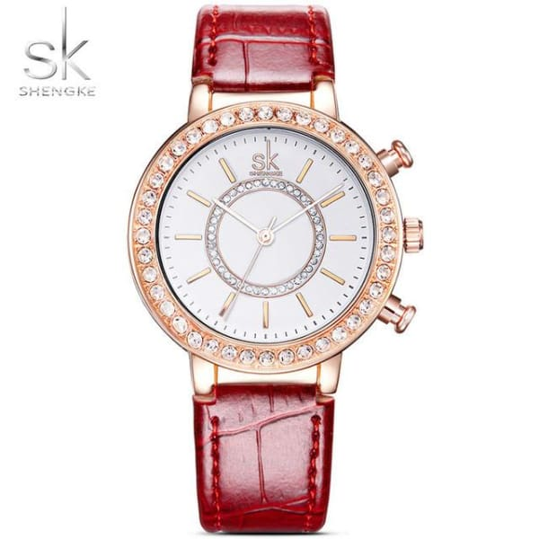 Ladies Leather Watch | Croc Pattern Strap w/ Crystal Bezel - Red - Leather