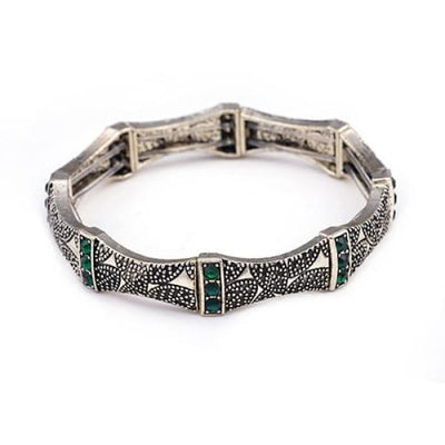 Vintage Charm Stretch Bracelet Tri-Stone Emerald Green - Bangle