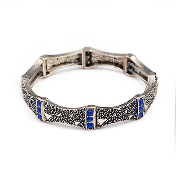Vintage Charm Stretch Bracelet Tri-Stone Sapphire Blue - Bangle