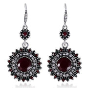 Vintage Medallion Red Crystal Drop Earrings - Drop Earrings