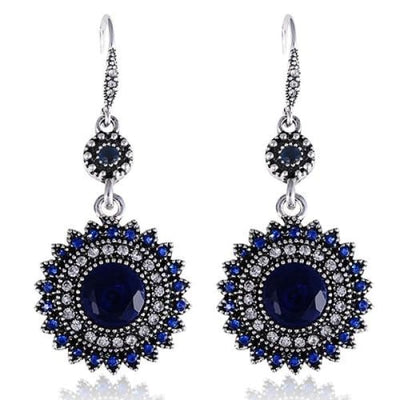 Vintage Medallion Blue Crystal Drop Earrings - Drop Earrings