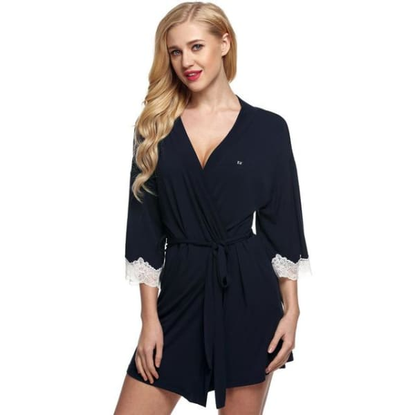 Short Robe with Lace - Dark Blue / L - Robe