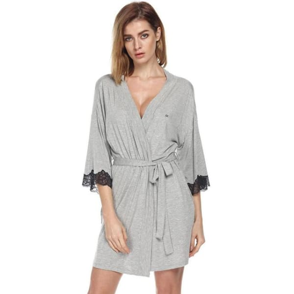 Short Robe with Lace - Grey / L - Robe