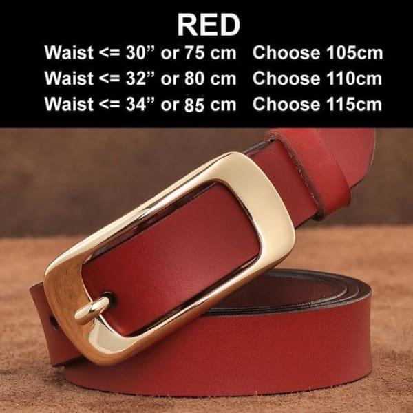 SAN VITALE Vintage Leather Womens Belt - N17063Red / China / 39.25 - Belt