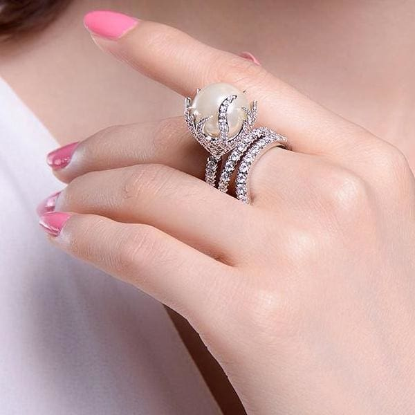 Ultra Big Faux Pearl Crystal Ring - Ring