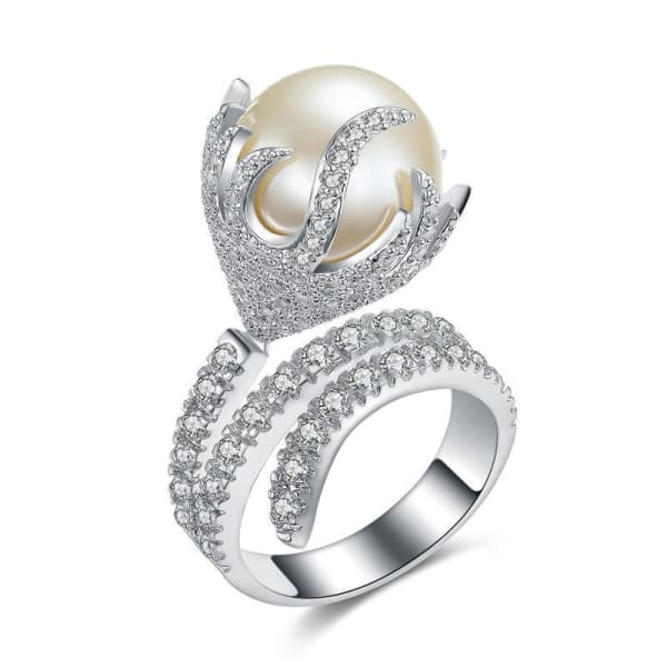 Ultra Big Faux Pearl Crystal Ring - 6 - Ring