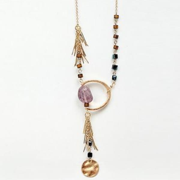 Long Beaded Necklace w/ Chain Tassels - Necklace