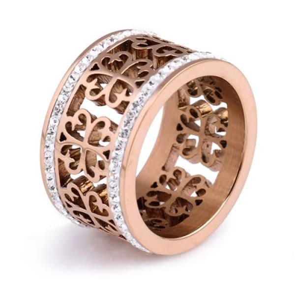 Vintage Filagree Crystal Ring - 6 / Rose Gold - Ring