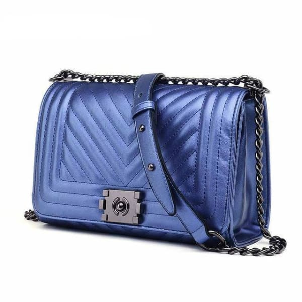 Chevron Quilt Messenger Bag - Metallic Blue - Messenger