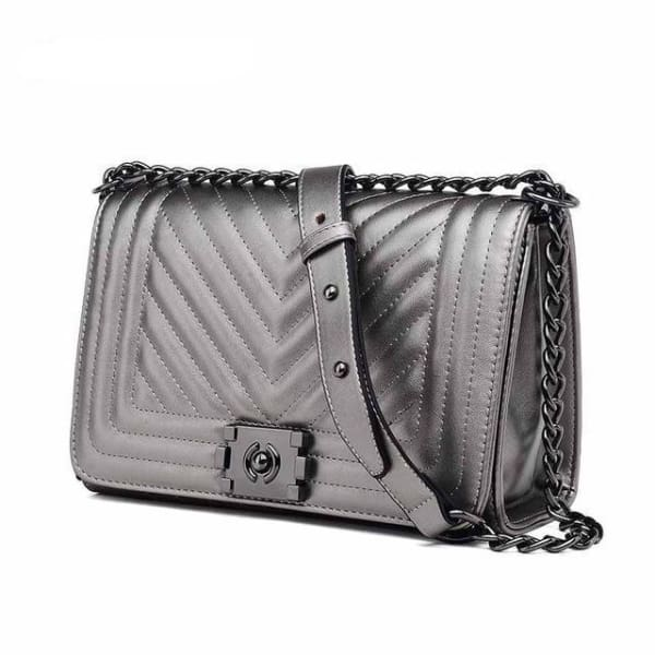 Chevron Quilt Messenger Bag - Metallic Silver - Messenger