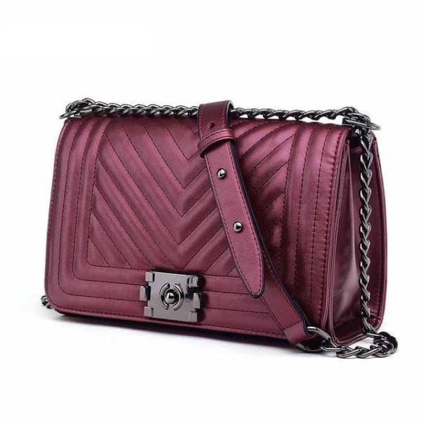 Chevron Quilt Messenger Bag - Metallic Rose - Messenger