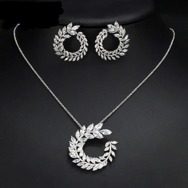 Jewelry Set Crystal Circular Leaf - Jewelry Set