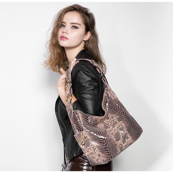 Leather Snakeskin Hobo - Hobo