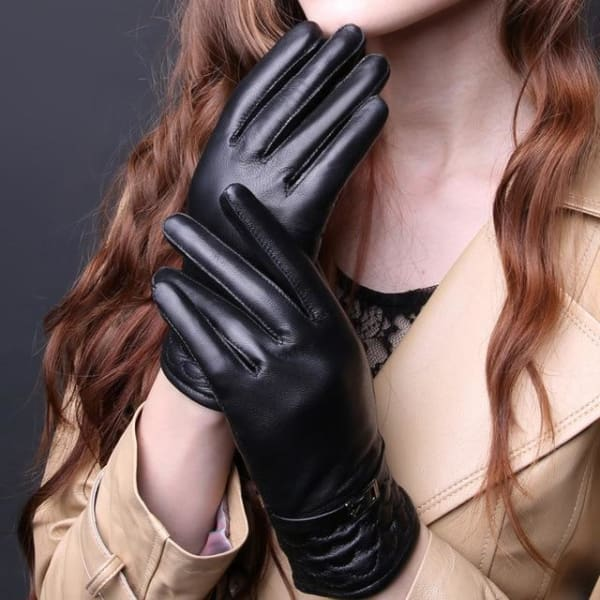 Womens Leather Wrist Gloves - Black / L - Gloves