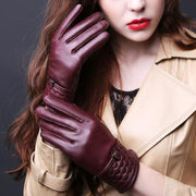 Womens Leather Wrist Gloves - Wine Red / L - Gloves
