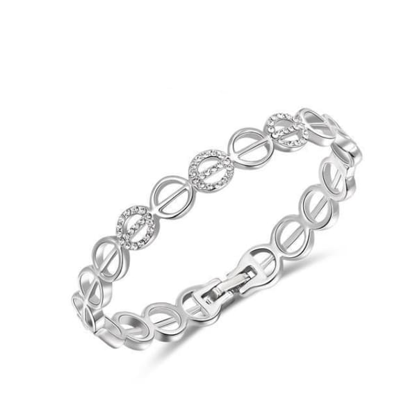 Circular Link Crystal Bangle - White Gold - Bracelet