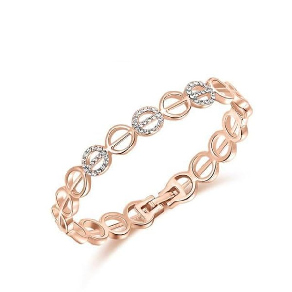 Circular Link Crystal Bangle - Rose Gold - Bracelet