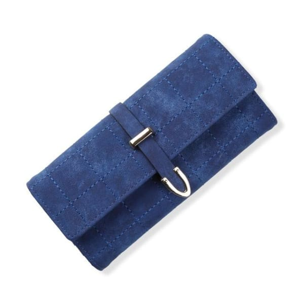 Suede Leather Long Wallet - Navy - Wallet