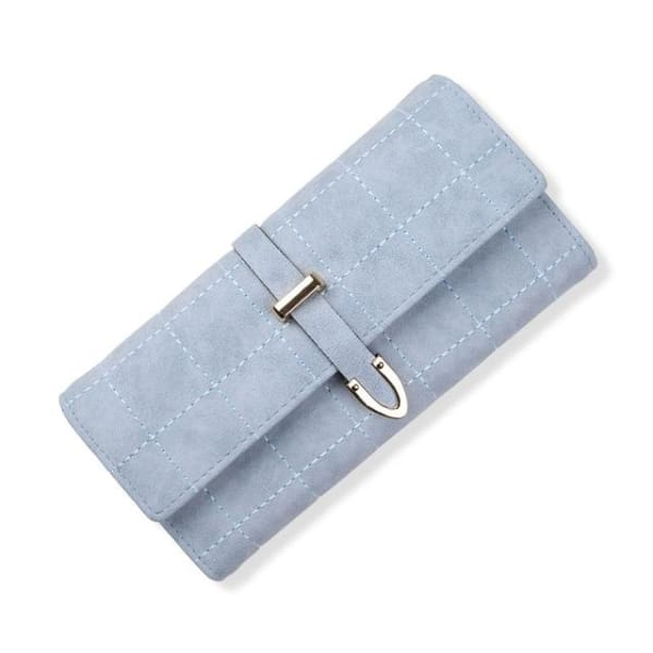 Suede Leather Long Wallet - Light Blue - Wallet