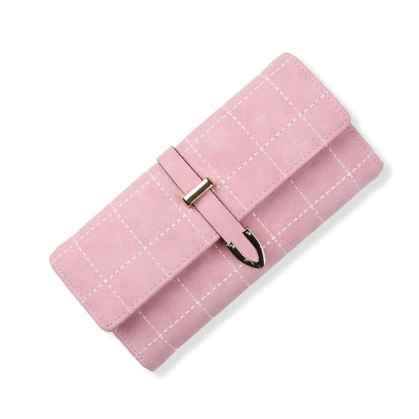 Suede Leather Long Wallet - Pink - Wallet
