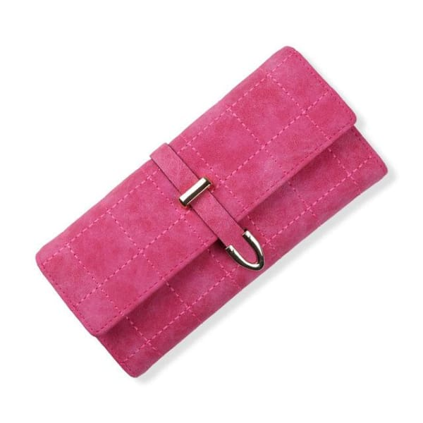 Suede Leather Long Wallet - Rose - Wallet