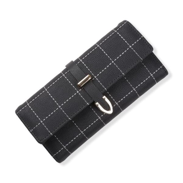 Suede Leather Long Wallet - Black - Wallet