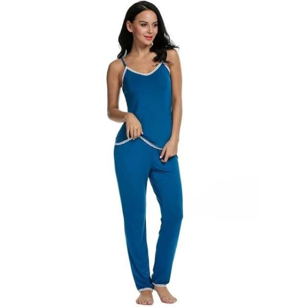 Rayon Pajama Set For Women - Blue / L - Pajamas