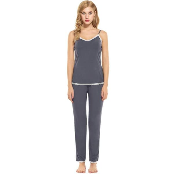 Rayon Pajama Set For Women - Gray / S - Pajamas