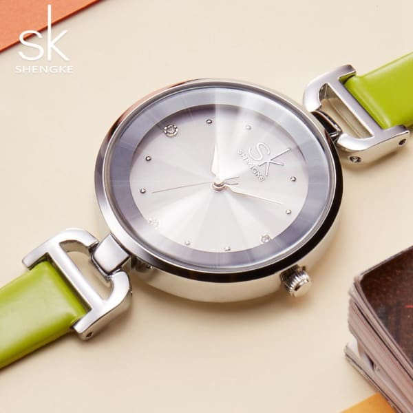 Leather Ladies Watch | Casual Colorful Leather Strap w/ Bevel Face - Leather