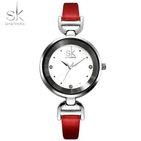 Leather Ladies Watch | Casual Colorful Leather Strap w/ Bevel Face - Red - Leather