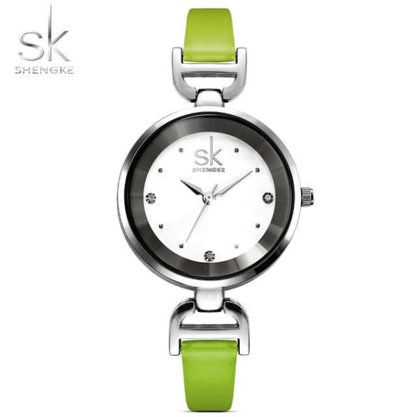 Leather Ladies Watch | Casual Colorful Leather Strap w/ Bevel Face - Green - Leather
