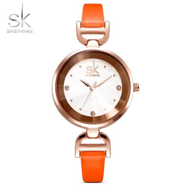 Leather Ladies Watch | Casual Colorful Leather Strap w/ Bevel Face - Orange - Leather
