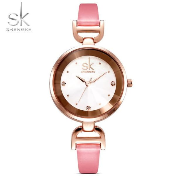 Leather Ladies Watch | Casual Colorful Leather Strap w/ Bevel Face - Pink - Leather