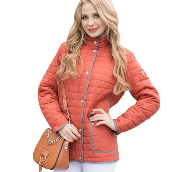 Casual Quilted Coat - Orange / S - Jacket
