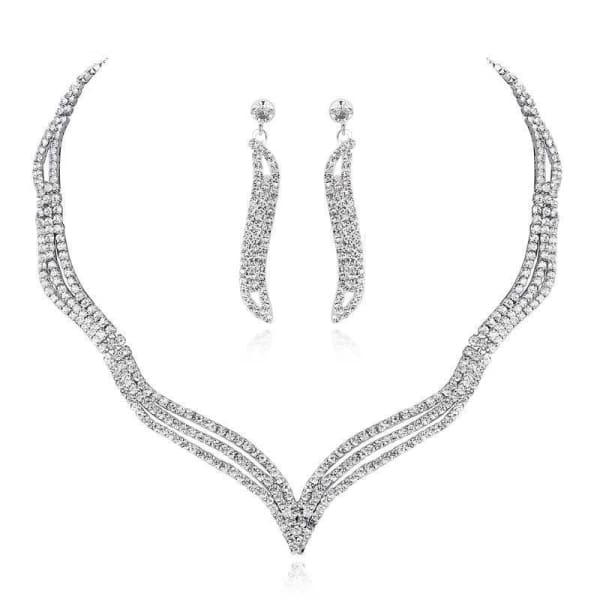 Jewelry Set Parisian Crystal Earrings and Necklace - Jewelry Set