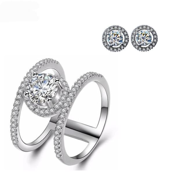 Jewelry Set | White Gold Ring and Earrings - 6 - Ring