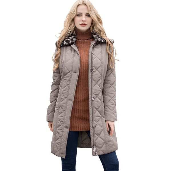 Diamond Quilt Parka with Faux Fur Collar - Taupe / S - Coat