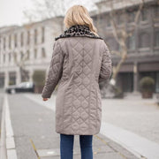 Diamond Quilt Parka with Faux Fur Collar - Coat