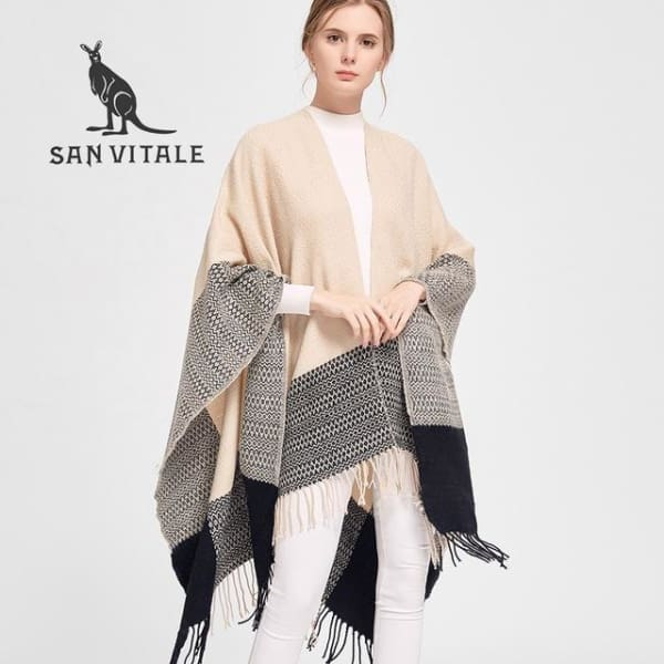 SAN VITALE Large Cashmere Blend Shawl - Blush + Black - Shawl